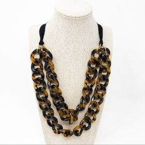 J.Crew Two Strand Tortoise Shell Chain Necklace